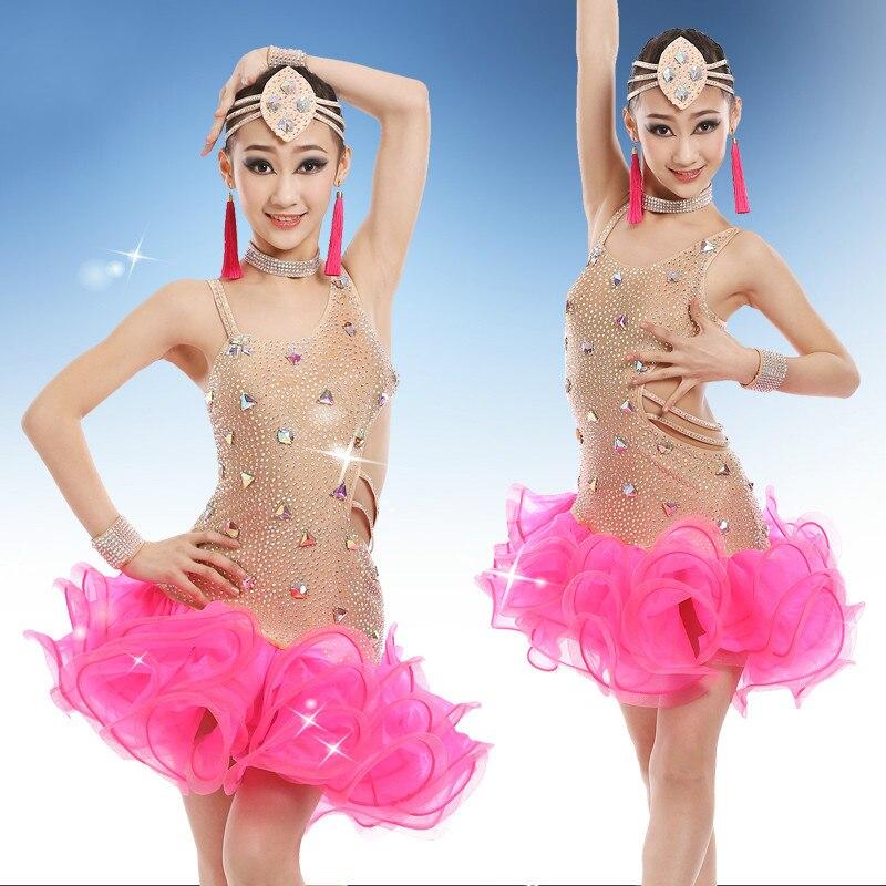 Robe de danse latine professionnelle pour enfants Salsa Tango Rumba Costume Samba robes de concours de danse de salle de bal pour enfants