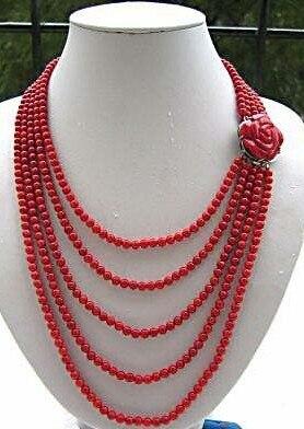 Bijoux de femme de mariage 5 rangées 6mm collier de perles de corail rouge Rose fleur fermoir breloque faite à la main