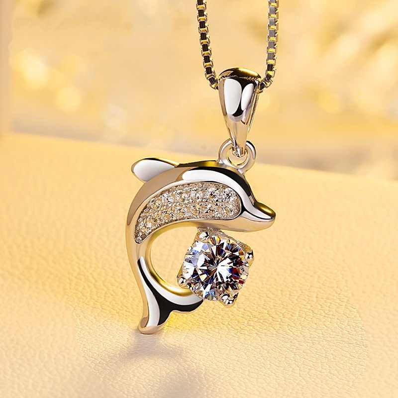 925 Sterling Silver Crystal Dolphin Box Chain Chocker Necklaces &Pendant For Women Wedding Jewelry Collar dz776