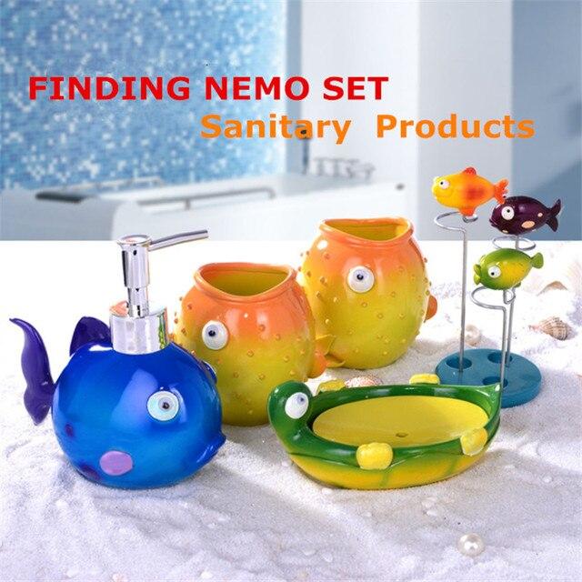 Childlike Colorful Bathroom Accessories Sets Soap Finding Nemo Lotion  Dispenser Tray Creative Box Storage Organizer 5Pcs