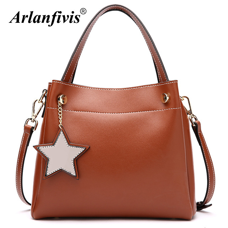 Arlanfivis Genuine Leather New 2018 Fashion Five-Pointed Star Women Handbags Cowhide Lady Shoulder Bag Large Capacity Bucket Bag