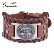Teamer salomon sigle d'archange Raphael bijoux Vintage large Bracelets en cuir pour hommes couleur argent cuivre métal accessoires
