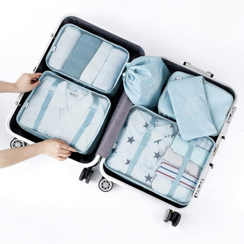 6pcs Waterproof Large Capacity Luggage Travel Bag Set Men Women Packing Cubes Organizer Double Zipper Storage Bag