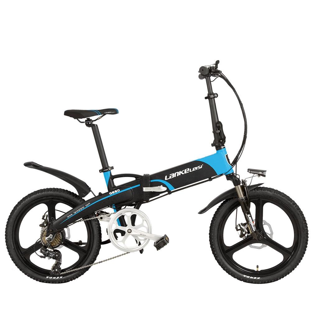 Lankeleisi G660 Electric Bike Folding Bicycle City Ebike 7 Speeds 48V 10AH Battery Road Bike