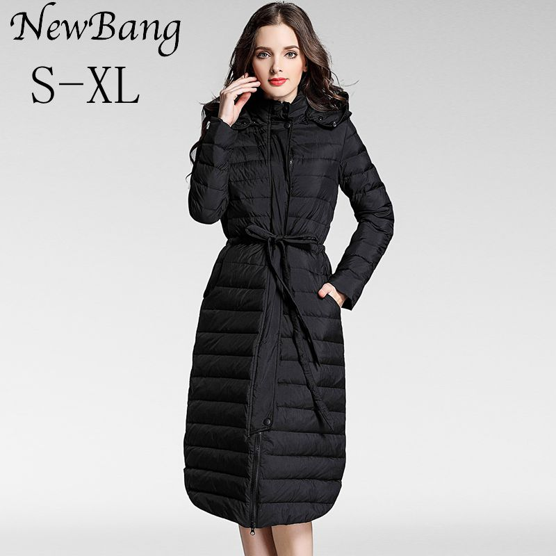 NewBang Brand Winter Long Down Coat Female Women Parkas Single Breasted Jackets With Sashes Thick Warm Windbreker Jacket