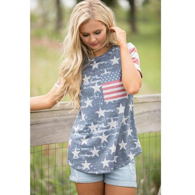 Urban Patriotic Fashion Fashion Print American Flag Women Shirt Short Sleeve Harajuku Shirt Women Clothes 2XL Loose Summer Tops Camiseta Mujer#9021 2