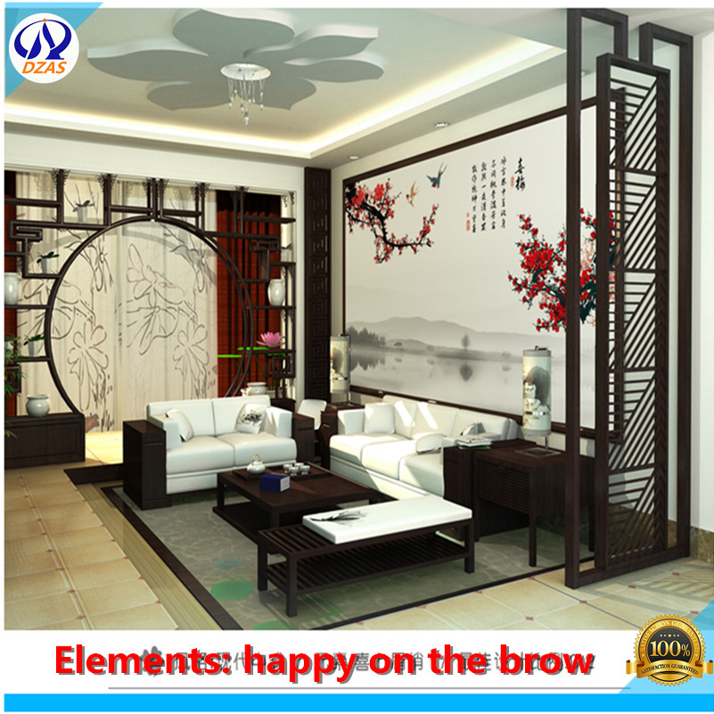 Chinese living room TV background wall ws