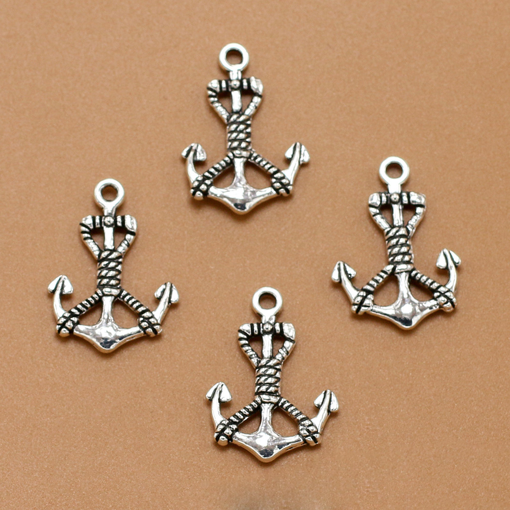 ANGRLY 10pcs 25*18mm Have Hook Up Fashion Ancient Silver Alloy Anchor Pendant Hand-beaded DIY Retro Accessories Metal Crafts