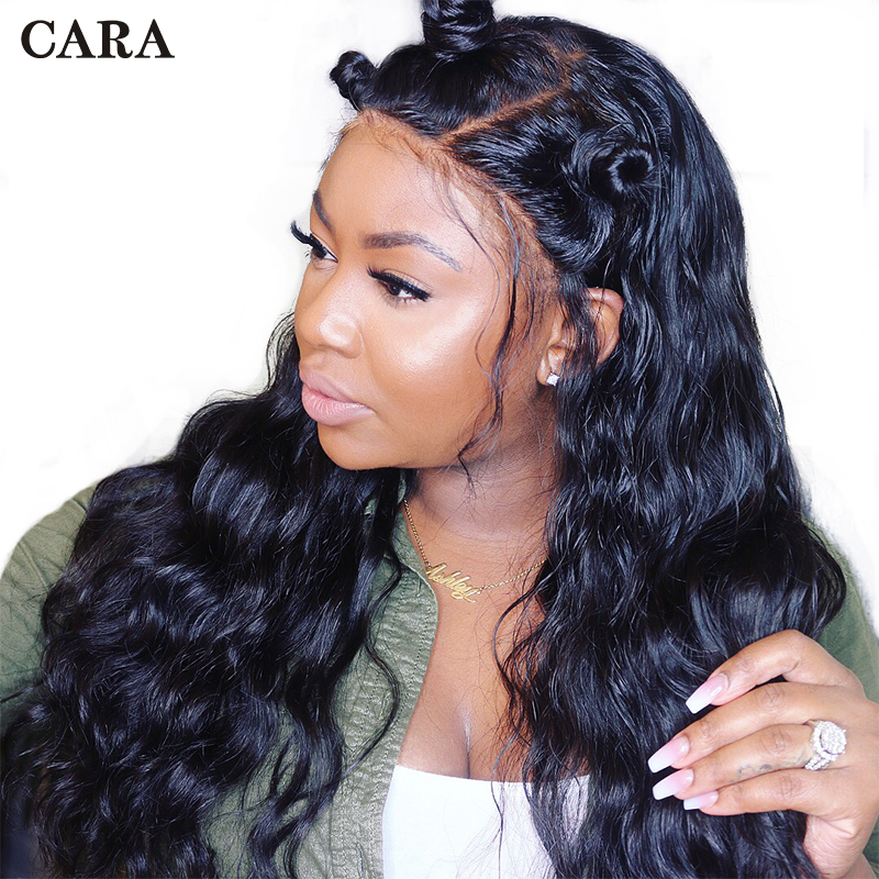 360 Lace Frontal Wig Pre Plucked With Baby Hair 180% Brazilian Body Wave Lace Front Human Hair Wigs For Women Remy CARA Black