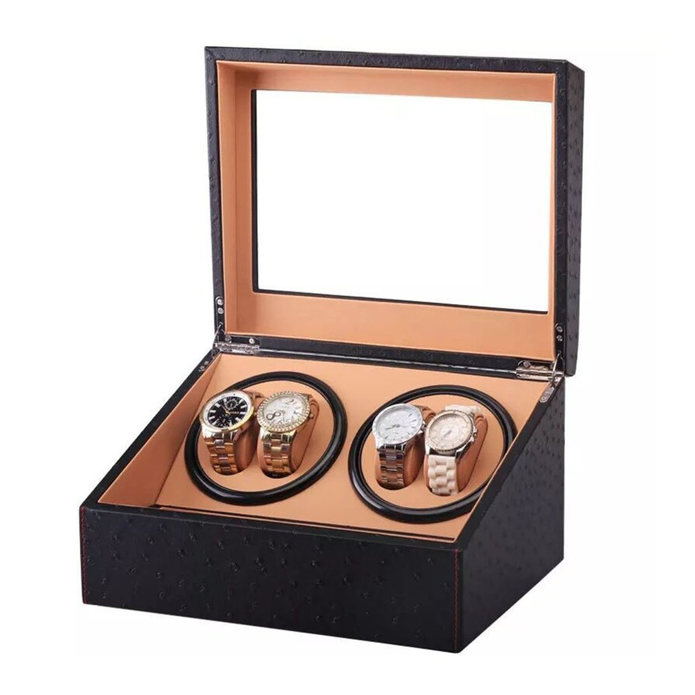 US/EU/AU/UK Plug Automatic Mechanical Watch Winders Storage Box Case Holder Collection Watch Display Jewelry Black PU Leather | Watch Boxes