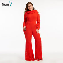 Dressv red long evening dress cheap high neck zipper up sheath jumpsuit  long sleeves wedding party 7acc467783b8