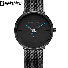 Creative Black Stainless steel Watches Men's' Simple Fashion Japan Mesh Band Wristwatch Clock Male relogios masculino king relogios k0672