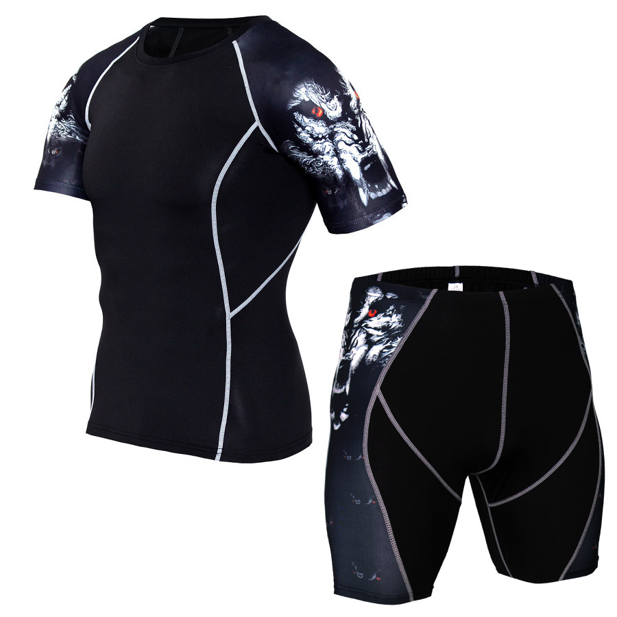 MMA Compression Sport Suit Men Sportswear Tracksuit Short Sleeve Running T Shirt Running Shorts Suits Jogging Sets Fitness Suit 3