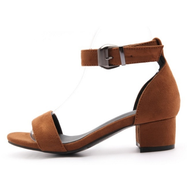KARINLUNA Buckle Strap Women Sandals Fashion Square Heel Summer Shoes 2017 Woman Open Toe Platform Shoes Big Size 31-48