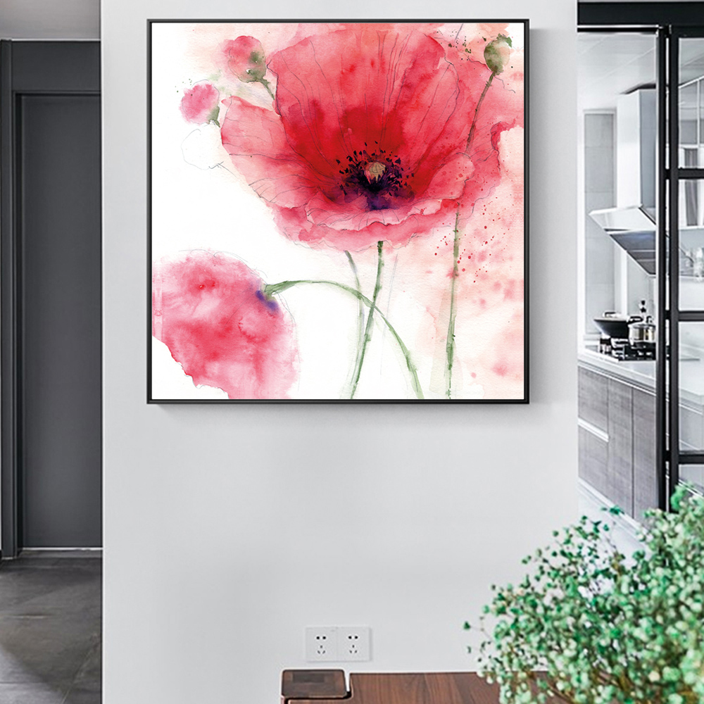 Flowers Modern Canvas Art Painting On The Wall Large Watercolor