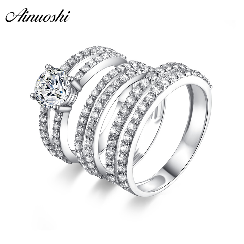 AINUOSHI 925 Sterling Silver Couple Wedding Engagement 4 Prongs Ring Sets Round Cut Men Anniversary Lover Promise Ring Set Gifts one piece sweet openwork footprint lover couple ring