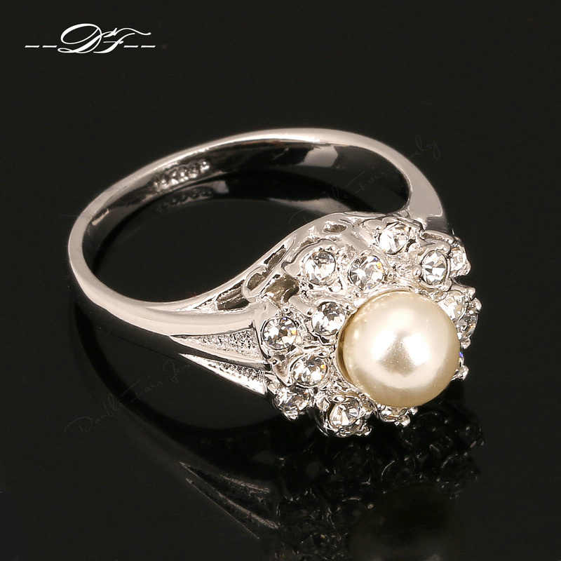 Vintage Simulated Pearl Beads Finger Rings Silver Color Fashion Brand Cubic Zirconia Jewelry For Women HotSale DFR171
