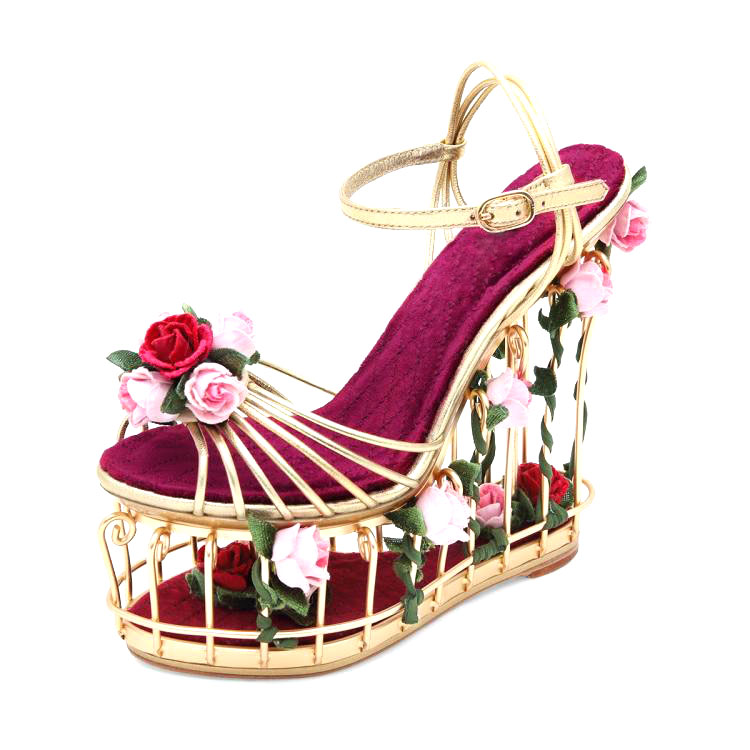 Artistic-Flower-Decor-Bird-Cage-Fretwork-Super-Wedges-High-Heels-Sandals-Beauty-3D-Flowers-Ankle-Strap
