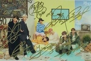 Image 5 - hand signed Bangtan Boys V SUGA J HOPE Jung Kook JIN JIMIN RM autographed group photo 5*7 072019
