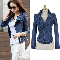 2014 New S L Fashion Star Jeans Women Punk Spike Studded Shrug Shoulder Denim Cropped Vintage