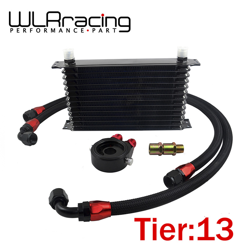 WLRING- UNIVERSAL 13 ROWS TRUST TYPE OIL COOLER+OIL FILTER SANDWICH ADAPTER BLACK + SS NYLON STAINLESS STEEL BRAIDED AN10 HOSE universal nylon cell phone holster blue black size l