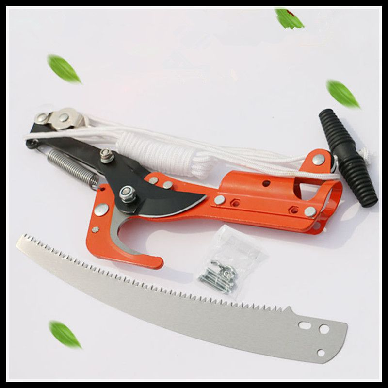 Outdoor high branch scissors garden tools pruning shears (scissors + saw + rope, no rod) gear cut head pruning shears garden tools telescopic pruning shears cut head saw blade rope no rod