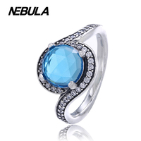 925 Sterling Silver Radiant Embellishment Sky Blue Crystal Clear CZ Ring Compatible With Pandora Ring Original