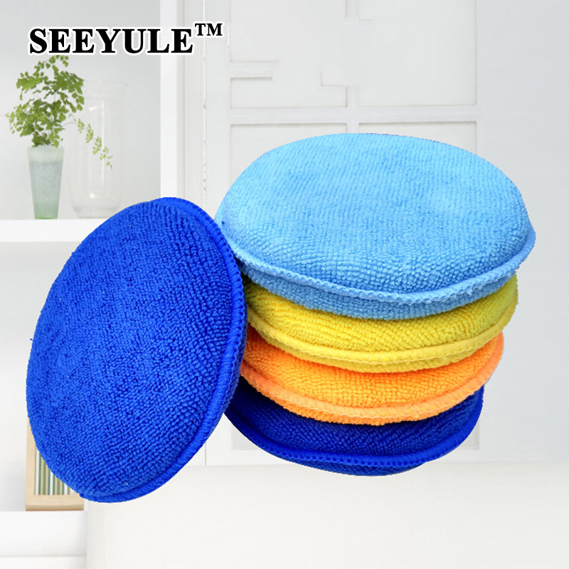 1pc SEEYULE High Density Large Microfiber Car Wax Sponge Polish Pad Anti Scratch Durable Wash Sponge for Car Apply Remove Wax