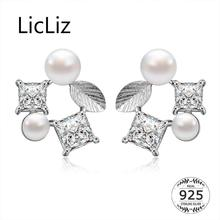 LicLiz 2019 New 925 Sterling Silver Square Zircon Leaf Stud Earring for Women Fashion White Gold CZ Crystal Pearl Jewelry LE0658