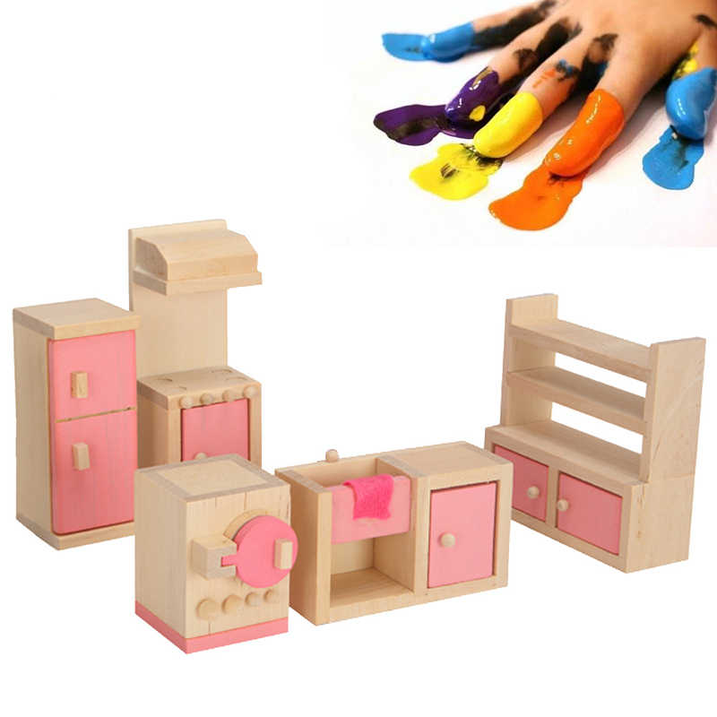 Bedroom Kitchen 6 Room set Dolls Toys Gifts Mini Delicate Wooden Dollhouse Furniture Toys Miniature For Children Pretend Play