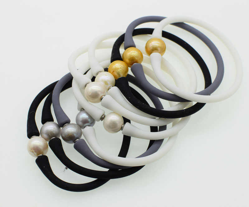 freshwater pearl bracelet white/gray/black  near round 10-11mm and grey silicone nature 7.5inch FPPj wholesale beads