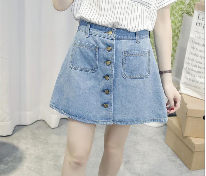 2020 neuer einfacher Sommer-bequemer hoher Taillen-Cowboydenimknopf - Damenbekleidung - Foto 5