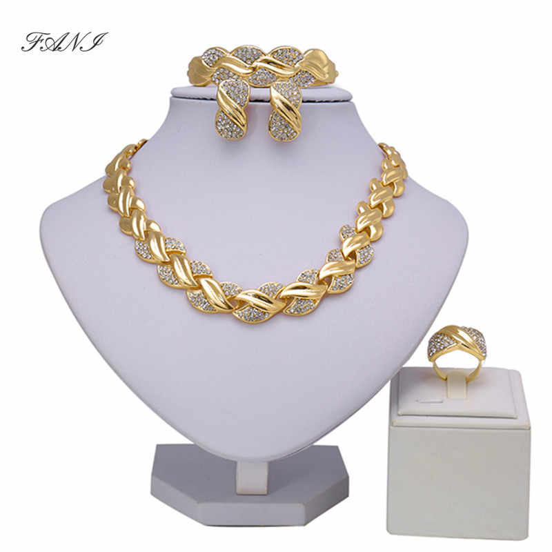 Fani Bridal Gift Nigerian Wedding Brand Jewelry Set Wholesale Fashio African Beads Jewelry Set  Dubai Gold Jewelry Women Design