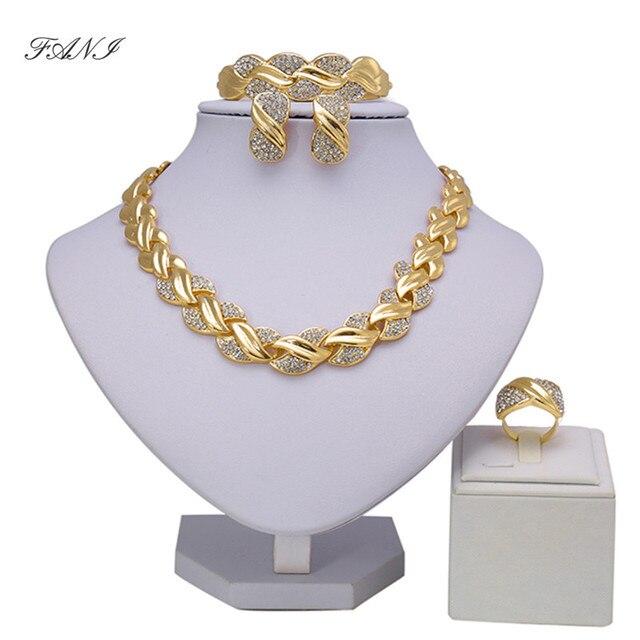 Fani מתנת כלה חתונה ניגרי סט תכשיטי מותג הסיטונאי Fashio תכשיטי חרוזים אפריקאים סט תכשיטי זהב דובאי עיצוב נשים