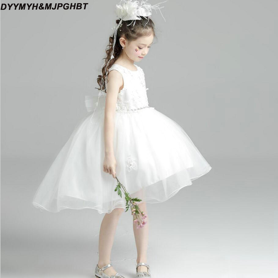 Hi Lo White Flower Girl Dresses Ball Gown Skirt Crystal Sash Lace ...
