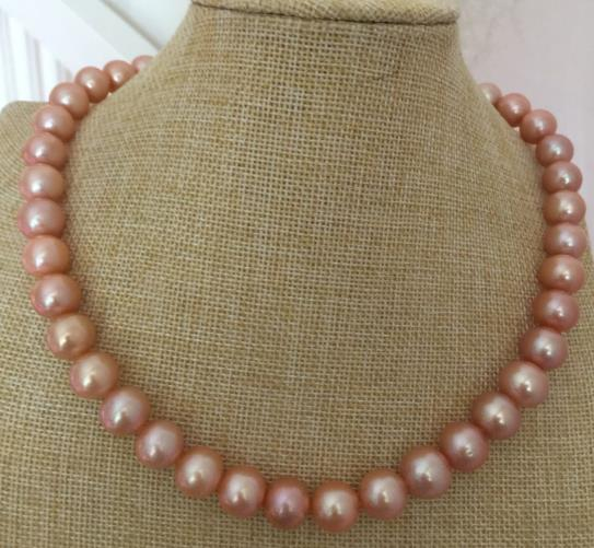 HUGE 11-12mm freshwater AAA GOLD PINK ROUND PEARL NECKLACE 18INCH925silverHUGE 11-12mm freshwater AAA GOLD PINK ROUND PEARL NECKLACE 18INCH925silver