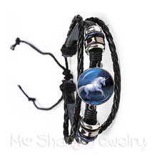 Unicorn Horse Bracelets 20mm Dome Cabochon Charm Black/Brown 2 Color Leather Cords Adjustable Bangle For Gift(China)