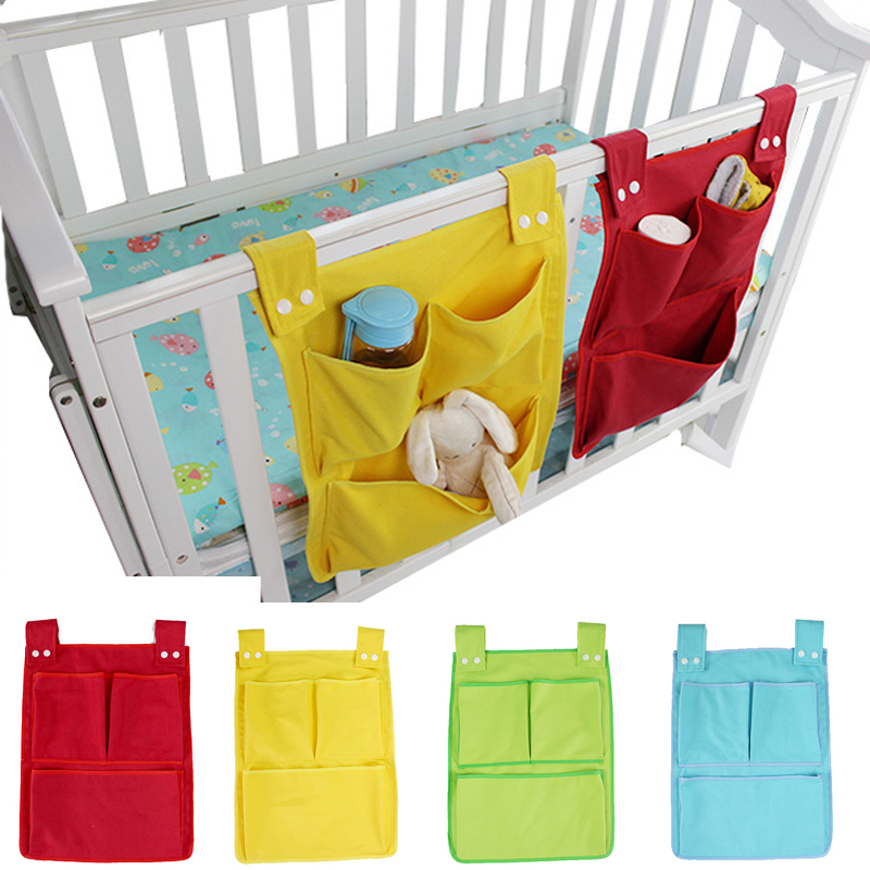 Baby Bed Hanging Storage Bag Cotton Newborn Crib Organizer Toy Diaper Pocket for Crib Bedding Storage Set Accessories