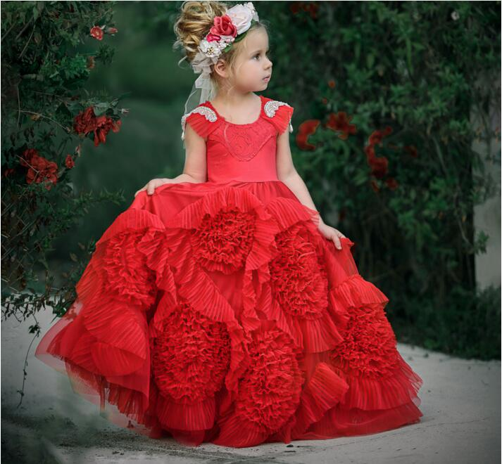 New Red Girls Birthday Pageant Dress 2017 Custom High Quality First Communion Gown Flower Girls Dress Size 4 6 8 11 12 lovely new puffy flower girl dresses beaded overskirts floor length first communion dress pageant birthday gown 2017 custom new