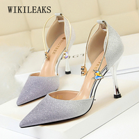 Brand Bling Women Pumps Fetish High Heels Shoes Rhinestone Stiletto Shoes For Women Pointed Toe Woman Sexy Party Wedding Shoes