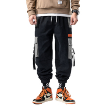 2019 Autumn Men Hip Hop Cotton Cargo Pants Joggers Men Black Ribbons Harem Pants Man Sweatpants Streetwear Casual Mens Pants 5XL hq hd01 heavy duty strong aluminium alloy and abs plastic lazy susan turntable dining table swivel plate for heavy wood table