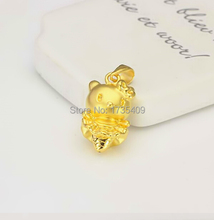 Pure Solid 24K Yellow Gold Pendant / Bless Lucky 3D Cat Pendant 1.88g