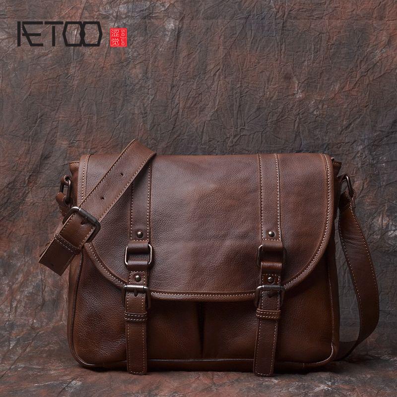 AETOO Original hand-wiping the first layer of leather cowhide package tanned leather shoulder Messenger bag retro old leather ba