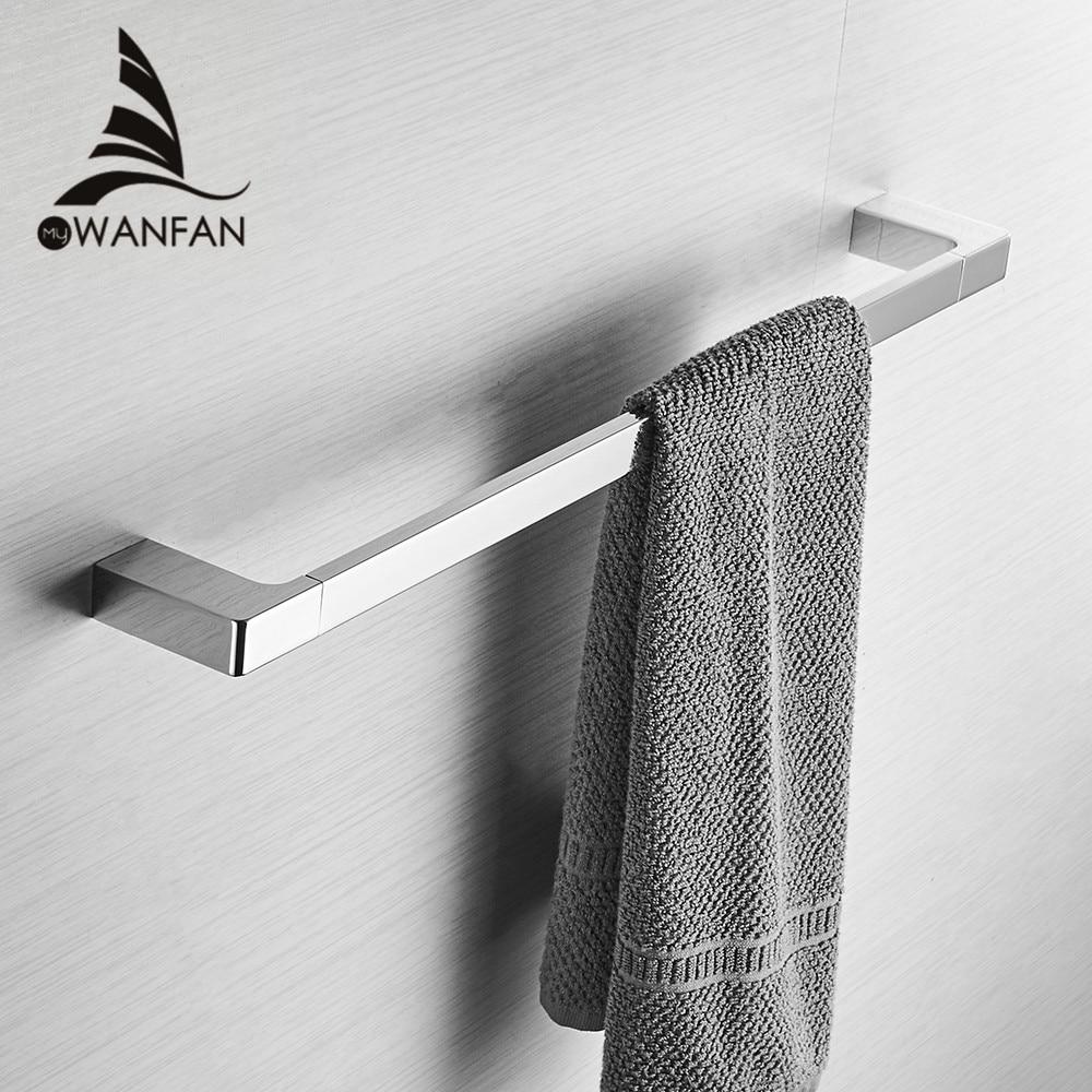 Chrome Color Zinc Alloy Material 60cm Fashion Single Towel Bar Square Style Towel Rail Towel Hanger
