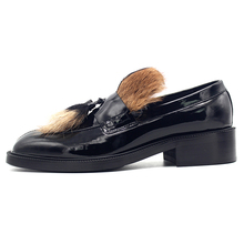 2018 new real hair black leather formal shoes mens loafers fur fur dress men s shoes