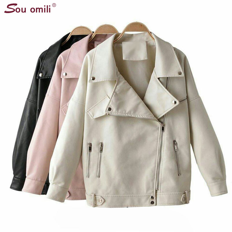 Ovesized Leather Jacket Women Faux Leather Jackets Pu Moto Black Blazer Zippers Loose Coat Double Zipper veste femme-in Leather Jackets from Women's Clothing    1
