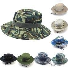 1 Pz Uomo Donna Militare Panama Safari Boonie del Camuffamento Secchio  Cappello Con La Stringa Cappelli Berretto Pescatore Cap 5. 60f581510ead