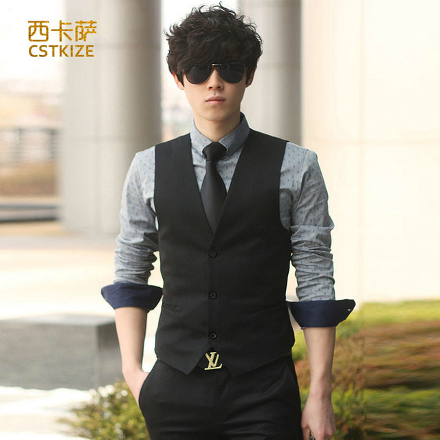 2016 New Hot Men's Dress formal business men party dress vest suit vest dress casual Slim Men Men