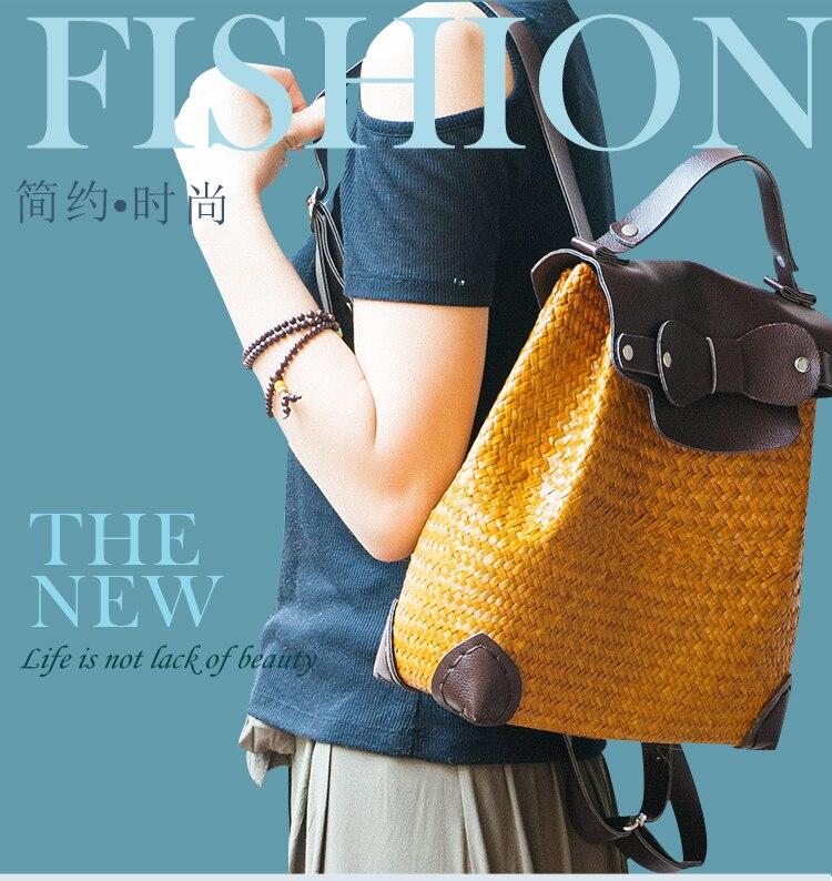 New handmade straw weave bag fashion retro shoulder bag female Japanese art backpack casual green lady backpack