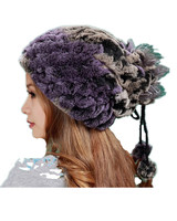 Yeni varış kadın sonbahar kış sıcak, örme susturucu, mor kırmızı renk rex tavşan kürk şapka veya eşarp H378